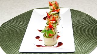 Cute Party Cucumber Roll Ups Video Recipe By Bhavna - Vegan & Gluten Free Option
