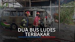 Dua Unit Bus Pariwisata Padang-Payakumbuh Ludes Terbakar saat Berada di Bengkel Lubuk Begalung