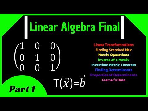 Linear Algebra Final Review (Part 1)    Transformations, Matrix Inverse, Cramer's Rule, Determinants