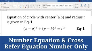 How to Create, Number Equation in Word and Cross Refer Equation Number Only