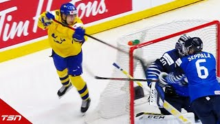 Vancouver Canucks draft pick Nils Hoglander pulls off a perfect lacrosse style goal against Finland to tie the game back up at one.