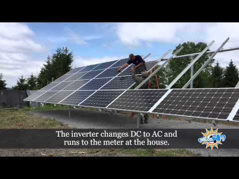 This time-lapse video shows the installation of a ground-mounted solar panel system. The process starts with the installation of helical piers that are driven into the ground, like a screw, in a matter of hours. These piers are used to support the structure that will hold the panels. The panels are then connected together and then connected to an inverter which turns DC power to AC and runs to the meter at the house.