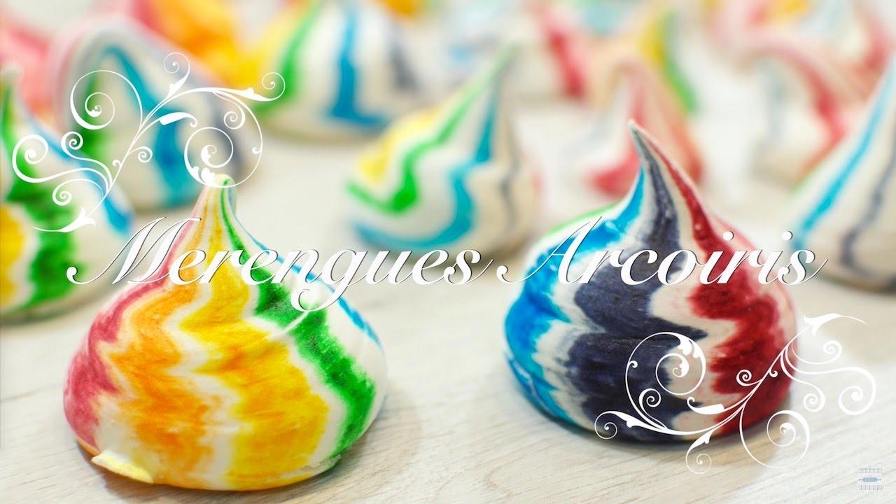 Merengues o Suspiros Arcoiris | Merengues de Colores | Suspiros de Colores | Como hacer suspiros