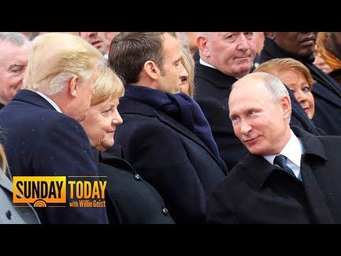 President Trump, Vladimir Putin Greet Each Other In Paris   Sunday TODAY