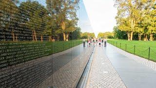 The Vietnam Veterans Memorial Wall in Washington, D C
