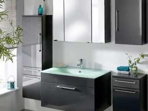 Badmöbel Heron in anthrazit Hochglanz inkl. Waschbecken und Beleuchtung