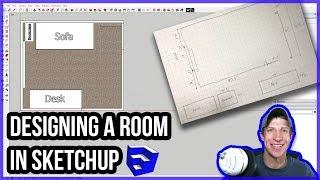 EASY ROOM LAYOUTS In SketchUp – Part 1 – Layout Diagrams - SketchUp Interior Design Tutorial
