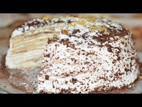 Блинный торт со сливочным кремом. Видеорецепт для проекта ШИРОКАЯ МАСЛЕНИЦА на YouTube