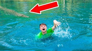 SWIMMING WITH POND MONSTER!!