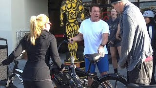 Arnold schwarzeneggers venice beach car tour arnold arnold schwarzenegger is asked if trump is a disaster for america malvernweather Image collections