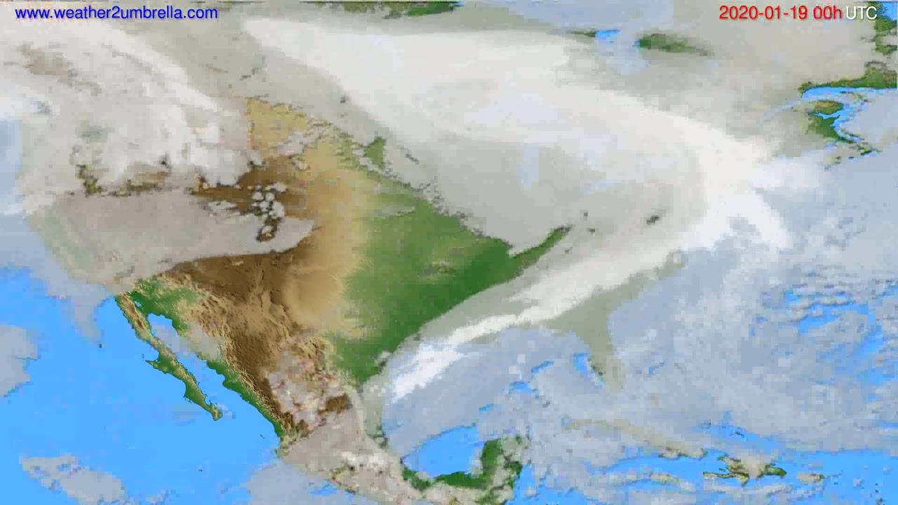 Cloud forecast USA & Canada // modelrun: 00h UTC 2020-01-18