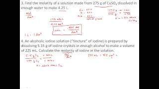 Practice Problems With Solutions, Concentration And Molarity