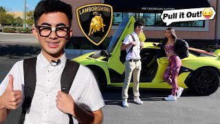Nerd Pulls His First Gold Digger WITH 2021 Lamborghini! SHE LOVES HIM NOW!