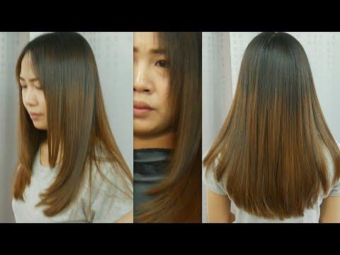 long hair cut U shape ตัดผมยาวตัว ยู