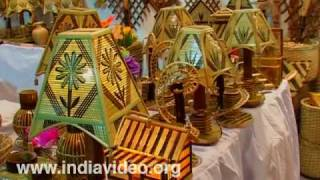 Embellished wood and bamboo from Manipur at Dilli Haat
