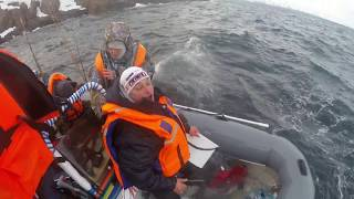 Лодка тонет в Териберке