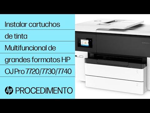 Como instalar cartuchos de tinta na impressora multifuncional de grandes formatos HP OfficeJet Pro das séries 7720/7730/7740.