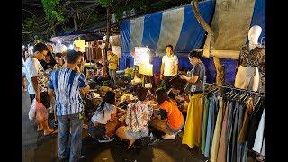[4K] 2019 Walking Night From MRT To Cheap Shopping At Chatuchak Market, Bangkok