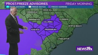 Freeze warning in effect for Friday morning for the Midlands