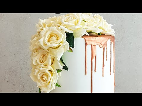 How To Make A Rose Gold Drip Wedding Cake- Rosie's Dessert Spot