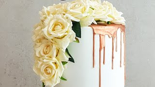 How To Make A Rose Gold Drip Wedding Cake- Rosies Dessert Spot