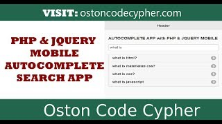 Quick Autocomplete App With PHP  & JQUERY MOBILE