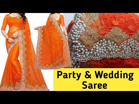 Designer net pearl work saree honest review in hindi / Party and wedding saree
