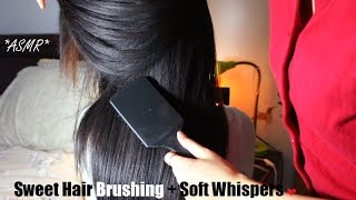 ASMR Hair Brushing + Hair Play For Relaxation W. SOFT WHISPERS + Bonus Back & Neck Scratching OMG KO