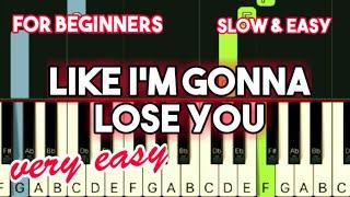 MEGHAN TRAINOR - LIKE I'M GONNA LOSE YOU   SLOW & EASY PIANO TUTORIAL