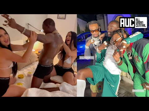 Bobby Shmurda Gets Oiled Up By 2 Dimes At Quavo's LA House Party