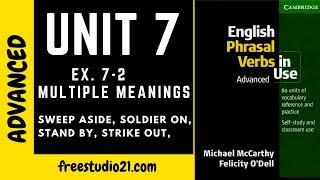 English Phrasal Verbs in Use - Unit 7 - sweep aside, soldier on, hit out, stand by