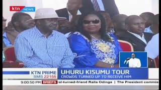President Uhuru Kenyatta receives hero' welcome in Kisumu County