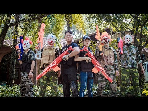 NERF WAR :Dangerous Task SWAT Nerf Guns Fight Criminal Group Mask Couple Assassin