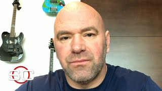 UFC president Dana White joins SportsCenter to announce that the promotion's next three events are postponed. White also says that April's lightweight title fight between Khabib Nurmagomedov and Tony Ferguson is going to happen.  #UFC #ESPNMMA ✔ For more UFC, sign up for ESPN+ https://plus.espn.com/ufc ✔ Get the ESPN App: http://www.espn.com/espn/apps/espn ✔ Subscribe to ESPN on YouTube: http://es.pn/SUBSCRIBEtoYOUTUBE ✔ Subscribe to ESPN FC on YouTube: http://bit.ly/SUBSCRIBEtoESPNFC ✔ Subscribe to NBA on ESPN on YouTube: http://bit.ly/SUBSCRIBEtoNBAonESPN ✔ Watch ESPN on YouTube TV: http://es.pn/YouTubeTV  ESPN on Social Media: ► Follow on Twitter: http://www.twitter.com/espn ► Like on Facebook: http://www.facebook.com/espn ► Follow on Instagram: http://www.instagram.com/espn  Visit ESPN on YouTube to get up-to-the-minute sports news coverage, scores, highlights and commentary for NFL, NHL, MLB, NBA, College Football, NCAA Basketball, soccer and more.   More on ESPN.com: http://www.espn.com