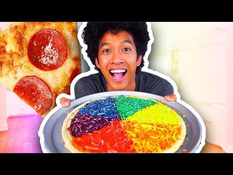 Farbenfrohe Pizza - Kochrezept für einen Partygag