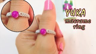 Macrame Jewelry Tutorial: The YUKA Ring With A 6mm Bead At Center :D