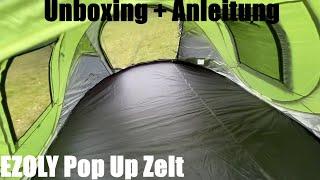 EZOLY Pop Up Zelt, Automatisches Zelt für Outdoor - Camping Wurfzelt für vier unboxing und Anleitung