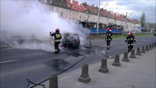 Bardzo Groźny Pożar Samochodu We Wrocławiu- Samochód W Płomieniach!