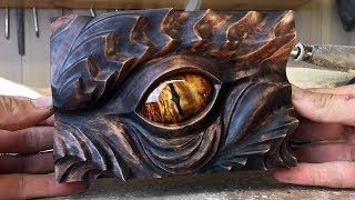 Smaugs Eye wood carving art project | A tribute to J.R.R Tolkien by Jonasolsenwoodcraft