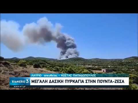 Σε εξέλιξη μεγάλη πυρκαγιά σε δασική έκταση στο Λαύριο | 16/07/2020 | ΕΡΤ