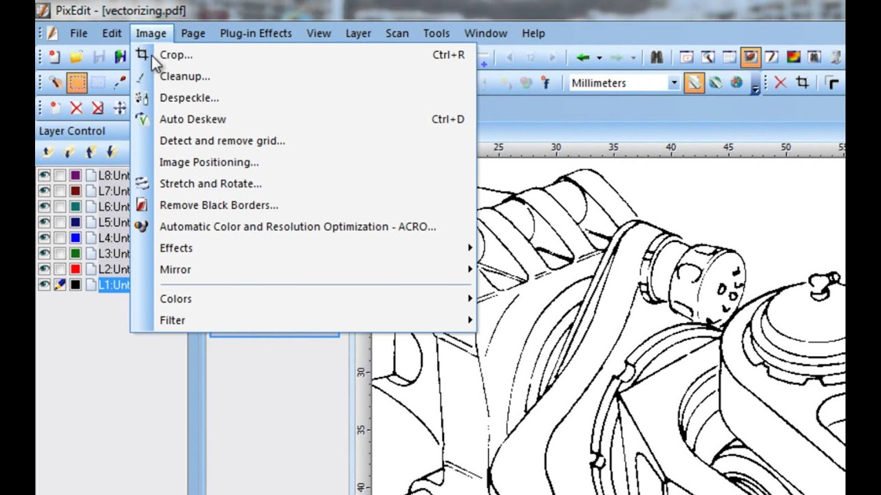 54 Vectorization: Converting scanned documents to CAD format