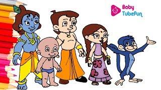 Chhota Bheem Colouring page | colouring Chhota Bheem and Krishna cartoon, Colouring Book for Kids