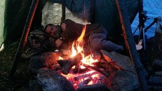 Testing Tipi Shelter/Keeping Warm/Coffee/Food And Relaxing