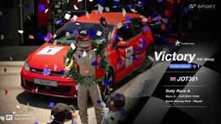 JOT381 GRAN TURISMO SPORT 190618 KYOTO PARK VW GOLF 2nd to 1st FASTEST LAP 9 LAPS 532nd WIN