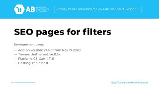 Update of SEO pages for filters add-on v.7.4.0 for CS-Cart and Multivendor