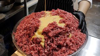 100% beef, handmade cheese hamburger steak / korean street food