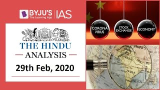 'The Hindu' Analysis for 29th Feb, 2020. (Current Affairs for UPSC/IAS)