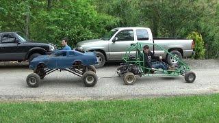go kart tug of war. the lifted go kart vs the green off road go kart