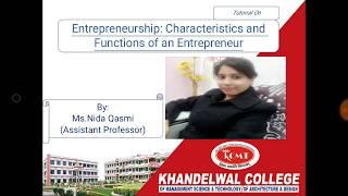 Tutorial on Entrepreneurship by Ms. Nida Qasmi for BBA, B.Com and MBA Students