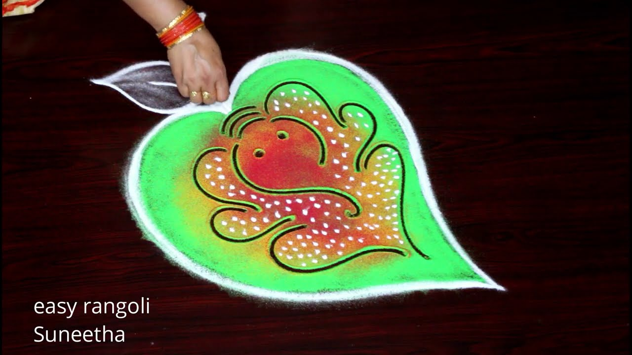 "<p style=""color: red"">Video : </p>Vinayaka Chavithi Special rangoli muggulu by Suneetha 